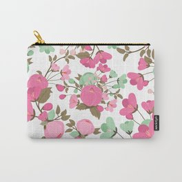 Botanical pink mint green girly floral illustration Carry-All Pouch