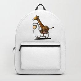 Funny Giraffe Riding A Lllama Cute Alpaca Backpack