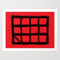 DOTTED GRID WITH BRUSH STROKES RED Art Print