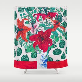 Tropical Lily Bouquet in Delft Vase with Matisse Leaf Cutout Background Shower Curtain