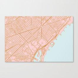Barcelona map, Spain Canvas Print