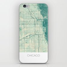 Chicago Map Blue Vintage iPhone & iPod Skin