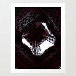 UNDER THE SKIRT OF THE EIFFEL TOWER. Art Print