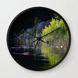 Spring Green Reflection Dark Water #decor #society6 #buyart Wall Clock