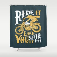 grease Shower Curtains featuring stole it by The Junkers