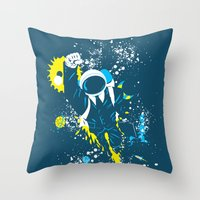 suit Throw Pillows featuring space suit by Jonah Makes Artstuff