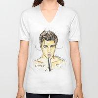 justin timberlake V-neck T-shirts featuring JUSTIN by CARLOS CASANOVA