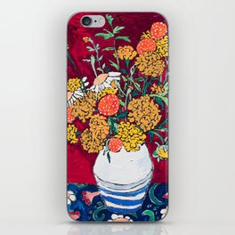 Marigold, Daisy and Wildflower Bouquet Fall Floral Still Life Painting on Eggplant Purple iPhone Skin