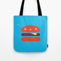burger Tote Bags featuring BURGER by Wet Pet