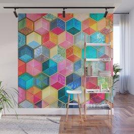 Crystal Bohemian Honeycomb Cubes - colorful hexagon pattern Wall Mural