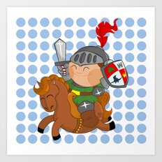 little knight with his horse Art Print