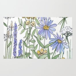 Asters and Wild Flowers Botanical Nature Floral Rug