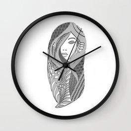 zentangle portrait 3 Wall Clock
