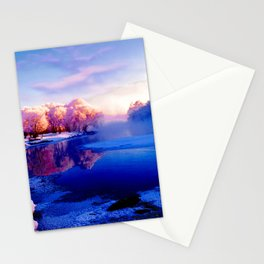 Forest and lake glace under bright sky2 Stationery Cards