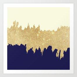 Navy blue ivory faux gold glitter brushstrokes Art Print