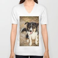 border collie V-neck T-shirts featuring Border Collie by Paw Prints By Jamie