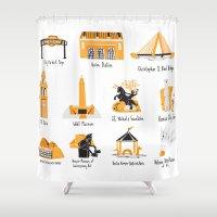 kansas city Shower Curtains featuring I Love Kansas City by HelloKaterTot