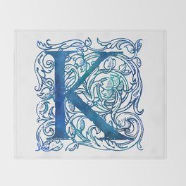 Letter K Antique Floral Letterpress Throw Blanket