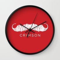 butcher billy Wall Clocks featuring Crimson Butcher by Jason Rutherford