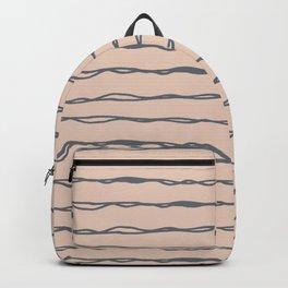 Minimalist Stripes Navy Gray on Blush Pink Backpack