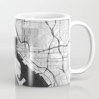 san diego Mugs featuring San Diego Map Gray by City Art Posters