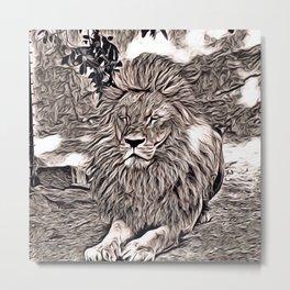 Rustic Style - Lion Metal Print