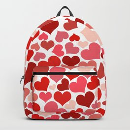 Love, Romance, Hearts - Red White Backpack