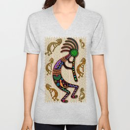 Kokopelli Rainbow Colors on Tribal Pattern  Unisex V-Neck