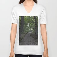 italian V-neck T-shirts featuring Italian forest by F130284