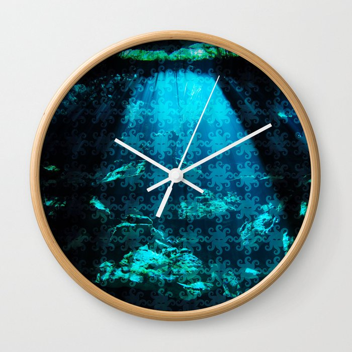 Cave Water With Logo Pattern Wall Clock