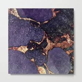 PURPLE & GOLD GEMSTONE Metal Print
