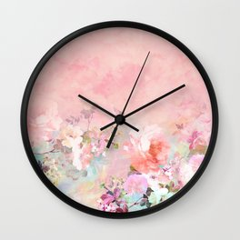 Modern blush watercolor ombre floral watercolor pattern Wall Clock