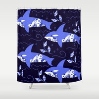 killer whale Shower Curtains featuring Killer whale pattern by luizaPatterns