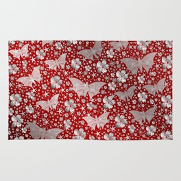 silver, red,flowers, stars, butterfly, pattern, bright, shiny, elegant, color Rug