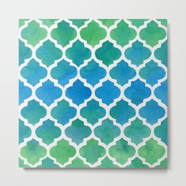 Blue and Green Watercolor Moroccan Pattern Metal Print