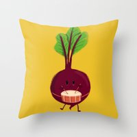 drum Throw Pillows featuring Beet's drum beat by Picomodi