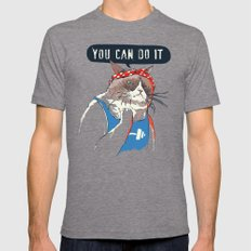 YOU CAN DO IT Tri-Grey MEDIUM Mens Fitted Tee