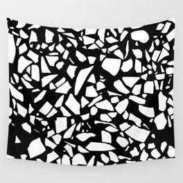 Terrazzo White on Black Wall Tapestry