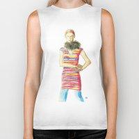 striped Biker Tanks featuring Striped Dress by Pani Grafik