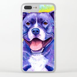 Colorful American Pitbull Terrier Dog Clear iPhone Case