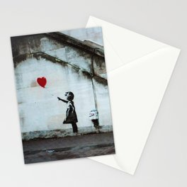 Banksy street art / photograph - girl with red ballon Stationery Cards