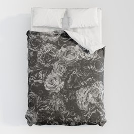 Flower Wall // Black and White Flat Floral Accent Background Jaw Dropping Decoration Comforters