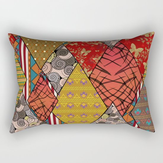 Rustic . Patchwork . Rectangular Pillow