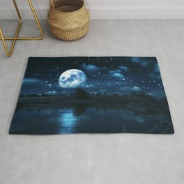 Rural forest near a river night landscape with full moon Rug