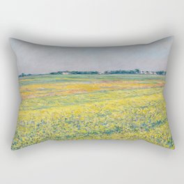 Gustave Caillebotte - The plain of Gennevilliers, yellow fields Rectangular Pillow