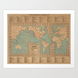 Vintage World Map Shipping Routes and Speeds (1923) Art Print