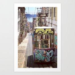 Graffiti Cable Car Art Print