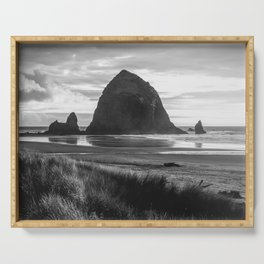Cannon Beach Sunset - Black and White Nature Photography Serving Tray