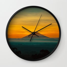 Mountain Volcano In The Distant Green Yellow Orange Sunset Hues Landscape Photography Wall Clock