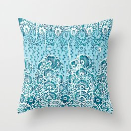 floral paisley in teal Throw Pillow